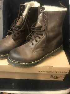 Dr Martens 1460 Serena Faux Fur Lined Brown Winter Boots Size 6   5.5