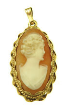 With A Rope Chain Design Frame 14k Yellow Gold Oval Shape Pendant Cameo
