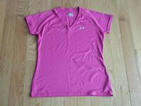 Womens/Misses ~ UNDER ARMOUR ~ Pink V-Neck Shirt Top Semi-Fitted ~ M Medium Med