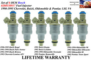 Set of 6 Genuine Bosch Fuel Injectors For 1991-1994 Buick Park Avenue 3.8L V6