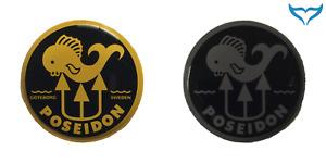 Poseidon Dome Label Aufkleber gelb grau schwarz 21,5 - 68mm Atemregler Regulator