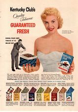 1957 Kentucky Clubs Tobacco Pipe Blonde Beautiful Woman  Vintage Print Ad