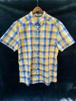Arcteryx Yellow, Blue and Gray Plaid Button Up Short Sleeve Shirt Men's XL