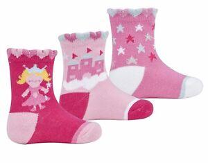 3 Pairs Baby Girls Fairy & Stars Socks Pack Of 3 Socks 0-0 0-2.5 3.5-5 44B540