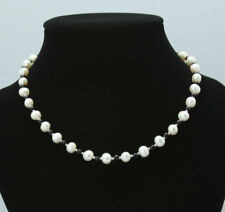 "7-8mm Natural White Akoya Freshwater Pearl 4mm Black Agate Necklace 18"" JN1762"