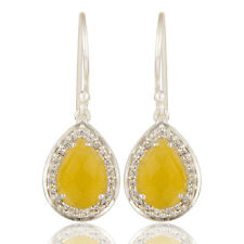 Designer Yellow Moonstone Cz Silver Plated Gemstone Drop Earring Fashion Jewelry