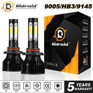 4 Sides LED Headlight Kit High Beam 9005 9145 H10 HB3 6000K Bulbs 130W 13000LM