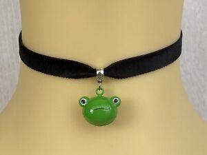 Black Velvet Choker Necklace Frog Bell Froggy Cat Cosplay Anime Lolita Fashion