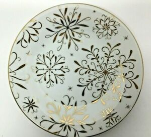 Pottery Barn Snowflake Gold Accent Salad Plate