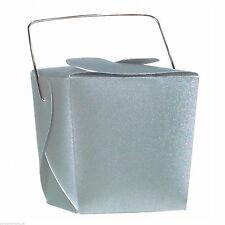 12 Mini Silver Square Wedding Favour Pails Boxes w Handles Party Gift Pails Box