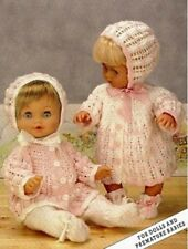 Baby Dolls Clothes Knitting Pattern Copy  8 ply Jacket leggings bonnet PREMMIE