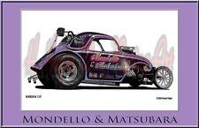 "Drag Racing Art Print of  Mondello Matsubara  Color... 13"" x 19"""
