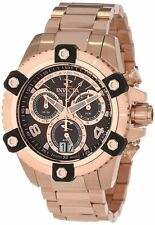 New Invicta 13720 Arsenal Swiss Made 48mm Chronograph Brown Dial Rose Gold Watch