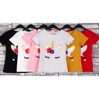 Girls Unicorn Top Kids Short Sleeve Cotton Summer T shirt Polo Girls 4-14 Y