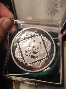 R1 China PRC 1985 Silver 5 Oz Panda Hong Kong Int'l Expo Proof OMP Sealed w/ BOX