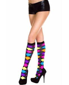 Neon Argyle Knee High Socks - Music Legs 5308
