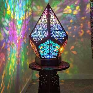 Bohemian Mosaic Starry Sky Floor Projection Lamp Colorful Table Bedside Light