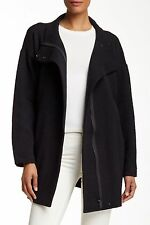 XL NWT $278 EILEEN FISHER BLACK DOUBLEKNIT  COTTON ARROWS FUNNEL NECK JACKET