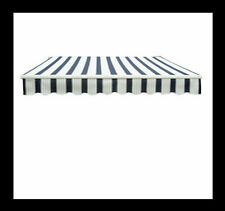 Garden Patio Manual Awning Replacement Shelter Canopy Fabric Blue/White