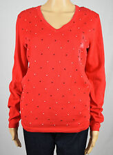 Tommy Hilfiger Womens Red Long Sleeve V-neck Top S