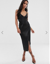 ASOS DESIGN cami midi wrap dress in satin Black Size 8