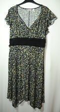 BLACK WHITE YELLOW GREEN SPOTTY LADIES PARTY SKATER STRETCHY DRESS SIZE L CATO