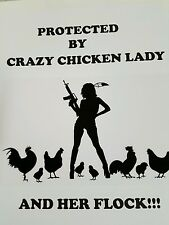 Protected by Crazy Chicken Lady Sticker Decal