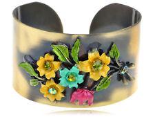 Alimarket Antique Bronze Colorful Enamel Flower Adjustable Chic Bracelet Cuff