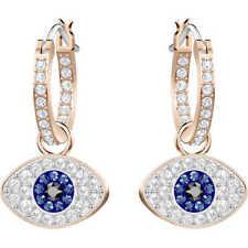 Swarovski Crystal DUO EVIL EYE  Hoop Pierced Earrings 5425857 New 2018