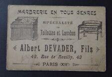 Carte de visite DEVADER marbrerie toilette et lavabos PARIS old visit card