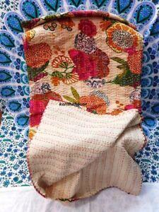 New Indian Handmade Fruit Kantha Quilt Block Printed Bedspread Beige Twin Size