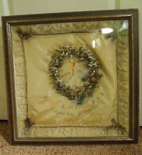 Vintage 1902-1927 Framed Painted Catholic Funeral Pillow  W/ Floral Ring