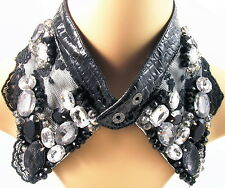 COLLAR NECKLACE handmade WOMEN Leather Rhinestone Crystal BLACK fashion choker