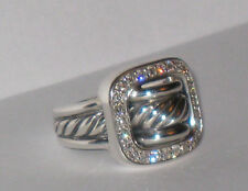 David Yurman Diamond Buckle Ring size,6.5 NEW!