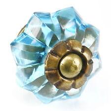 Blue Crystal Drawer Pulls, Cabinet Door Handles, Vintage Glass Knobs #K177 Set/2