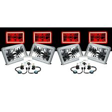"4X6"" Red COB Halo Glass / Metal 6000K 4000LM LED Headlight H4 Light Bulb Set"
