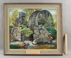 Lrg FREDERICK BUCHHOLZ Hudson River West Point Water Wheel Fishing Oil Painting