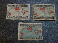 CANADA POSTAGE STAMPS SG166,167,168 2C 3 SHADES MOUNTED-MINT