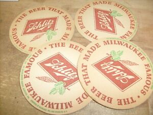 """4  lot Vintage Schlitz """"The Beer that Made Milwaukee Famous"""" Beer Coaster"""