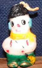 "Vintage Gurley ? 2.75"" Snowman Candle With Red Suspenders & Green Pants"