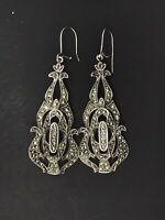 ANTIQUE STERLING EARRINGS EXUBERANT MARCASITE HALLMARKED SUBLIME DANGLING PIERCE