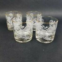 Vintage Houze Art Dandelion Old Fashion Glasses with Gold Rim lot of 4