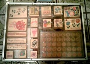 New Special Occasion 58 Wood stamp set with pens pads and paper  in acrylic case