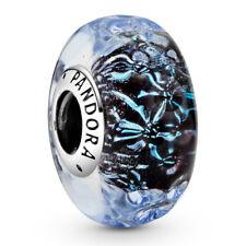 Original PANDORA® Charm Murano Element 798938 C00 Wavy Dark Blue Silber Bead