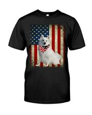American Eskimo Dog American Flag Gift Ideas Dog Lover T-Shirt
