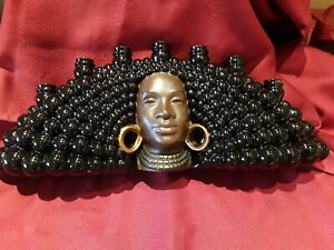 VTG Mid Century Modern African American Ceramic Womens Face 7 Candles Holder
