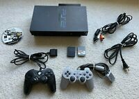 Sony Playstation 2 PS2 SCPH-50001/N System w Cords 2 Controllers Network Adapter