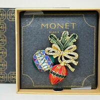 Monet Enameled Christmas Ornaments Pin Brooch Rhinestones Signed IOB