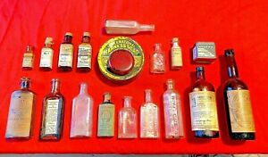 19 Vintage Veterinary & Farm Animal Medicine Bottles Tins Salve Stock Powder