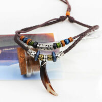 1PC Men Alloy Leather Pendant Necklace Wolf Tooth Vintage Beaded Choker Jewelry